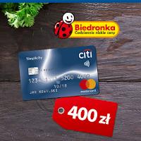 Voucher 400 zł na zakupy w sklepach Biedronka za darmową kartę Citi Simplicity