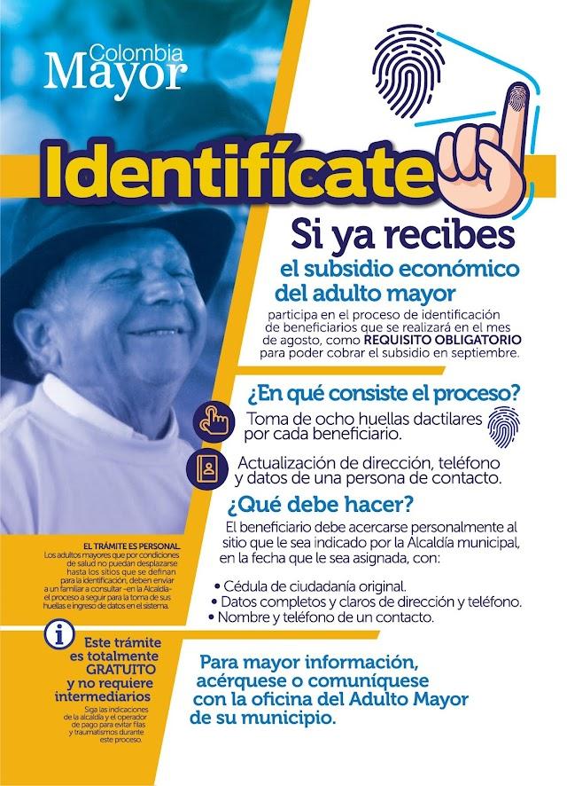 Beneficiarios de Colombia Mayor deben registrar su huella digital