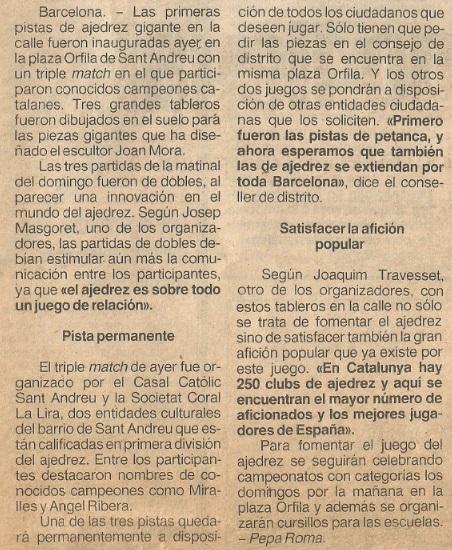 Recorte de El Periódico, 9 de abril de 1984, pág. 19