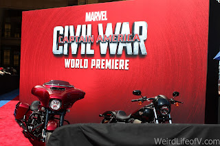 Iron Man themed motorcycles on the red carpet