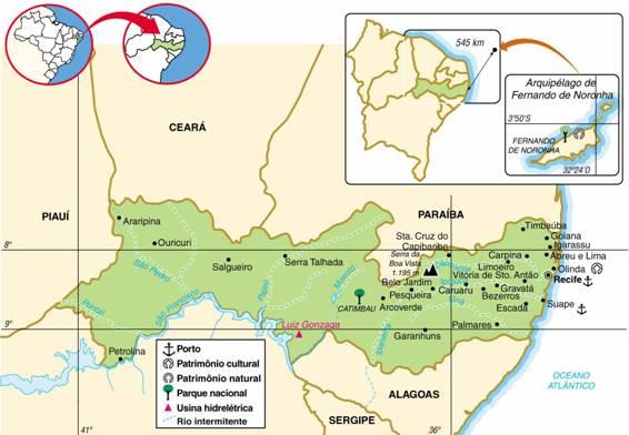Pernambuco | Mapas Geográficos de Pernambuco