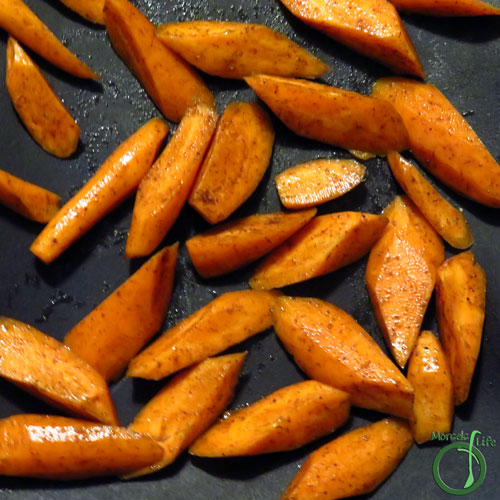 Morsels of Life - Five Spice Roasted Carrots Step 3 - Roast carrots at 375F for 15 minutes. Then turn and roast for another 15 minutes.