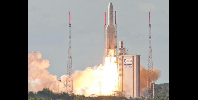 INSAT-3D was launched by Ariane-5 launch vehicle in the early hours of July 26 from Europe's Spaceport in Kourou, French Guiana. Credit: ESA