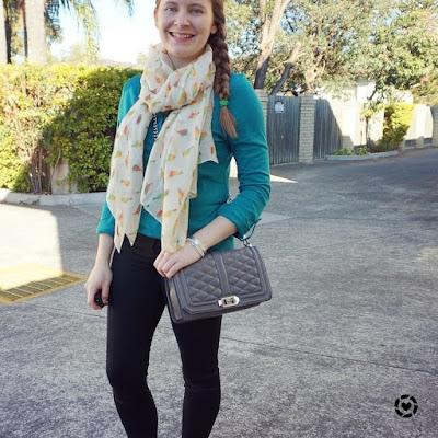 awayfromblue instagram SAHM style teal henley parrot print scarf black skinny jeans