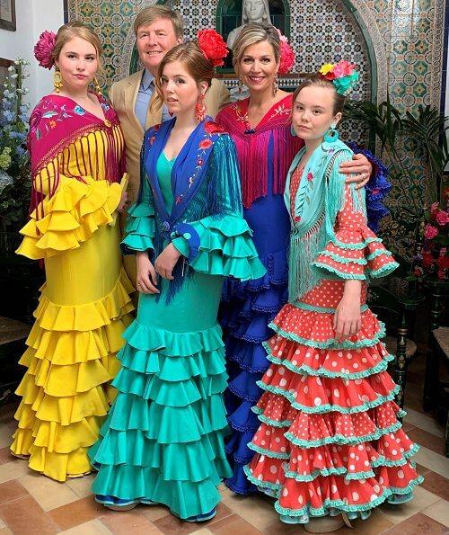 Princess Ariane, Princess Alexia, Princess Amalia and Queen Maxima wore Fabiola 1987 Flamenco dressed at Seville April Fair