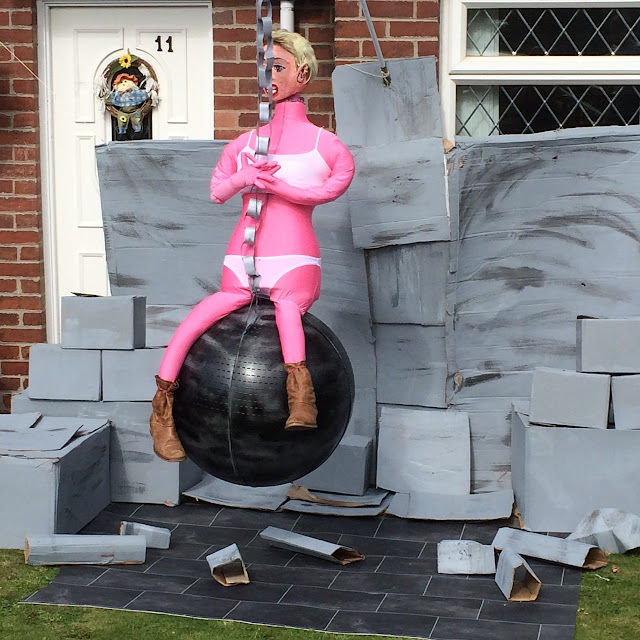 Kirkhamgate Scarecrow festival, Miley Cyrus wrecking ball Scarecrow