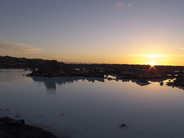Sunset over Iceland's Blue Lagoon at midnight