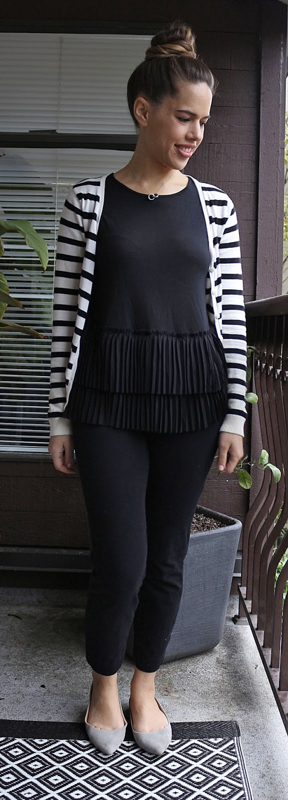 Jules in Flats - Banana Republic Tiered Ruffle Blouse, H&M Striped Cardigan