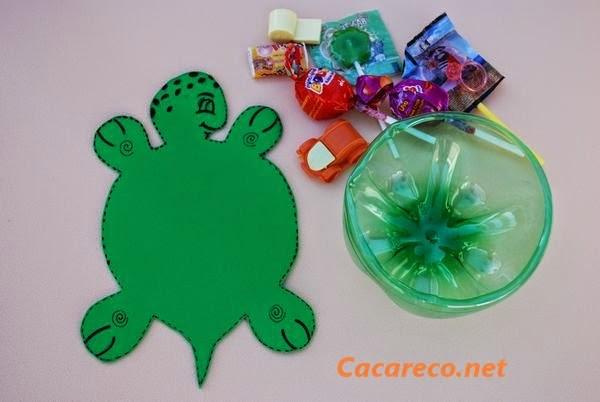 Artesanato Em Juta Passo A Passo ~ Eu Amo Artesanato Lembrancinha de tartaruga de garrafa pet