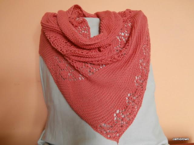 chusta ręcznie robiona na drutach