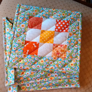 scrappy quilted potholders: QuiltBee