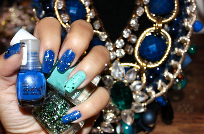 blue and mint nail color art