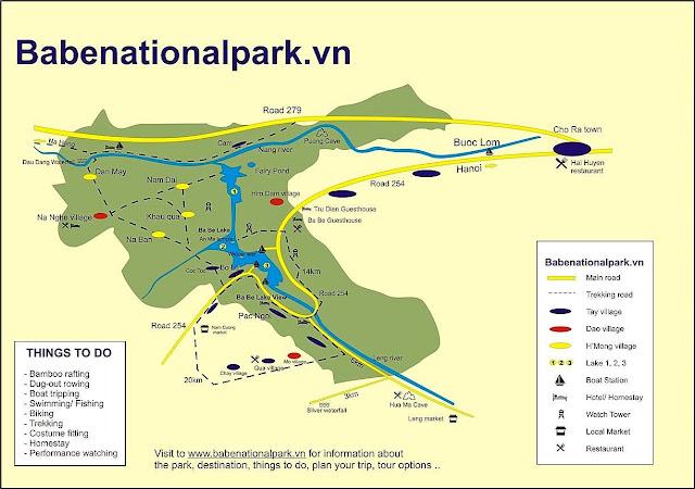 ba be national park map vietnam