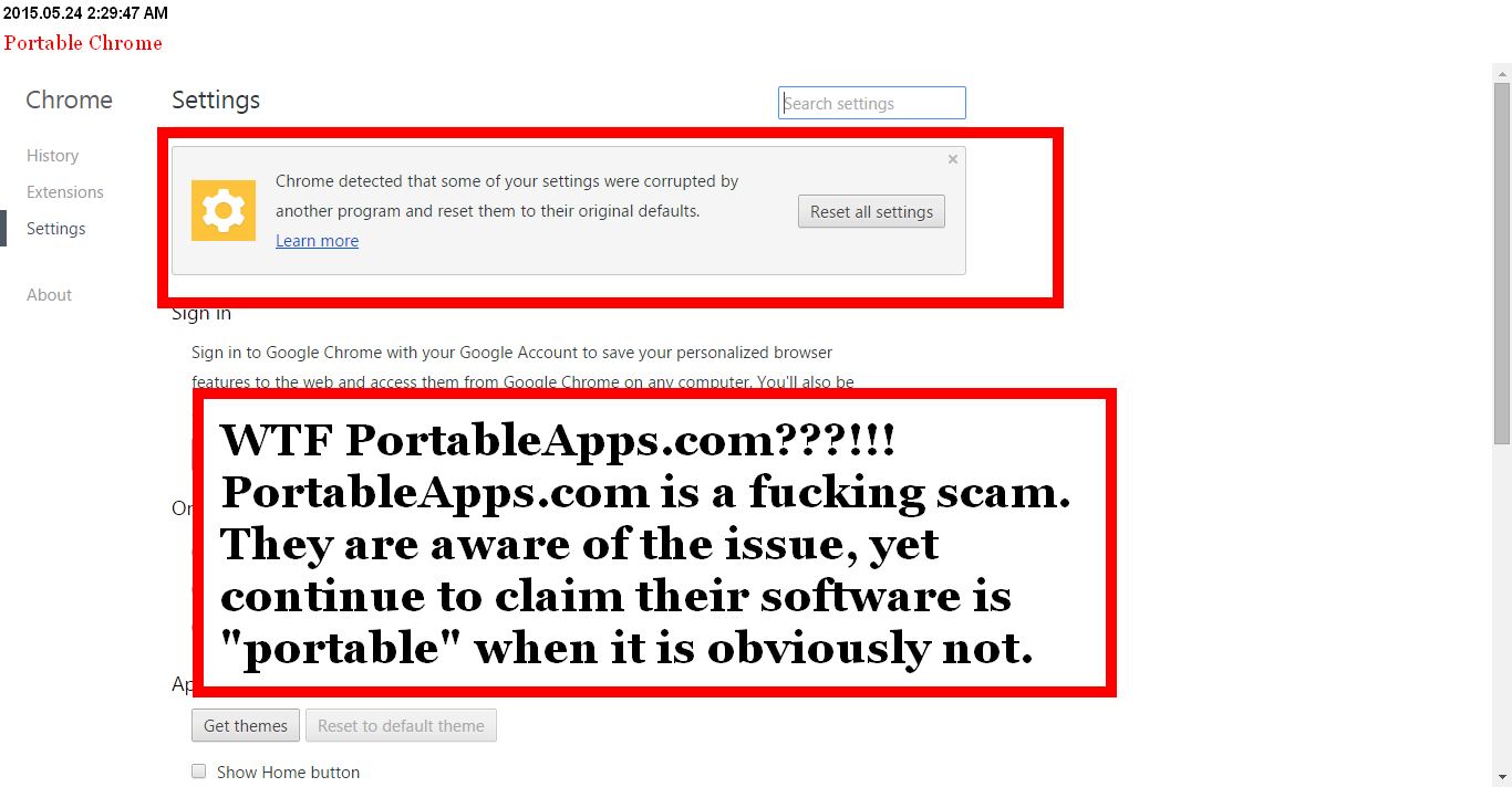 RANT] Google Chrome Portable IS NOT TRULY PORTABLE
