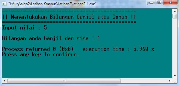 Running Program Pada saat meng-input nilai Ganjil