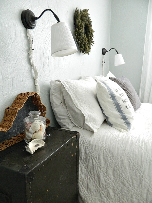 Interior design is more than just decorating. It is intentionally creating a space that not only functions well, but also functions beautifully...blue and white farmhouse guestroom