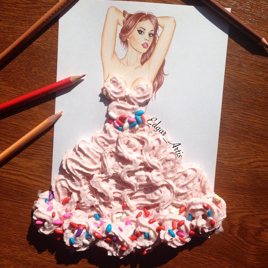 16-Whipped-Cream-and-Sweets-Edgar-Artis-Drink-Food-Art-Dresses-and-Gowns-Drawings-www-designstack-co