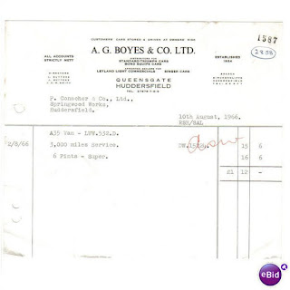 A G Boyes Co Ltd invoice 10August 1966
