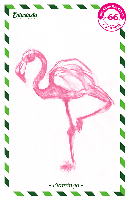A pink flamingo traditionally illustrated by ilustrator David Pugliese. Un flamenco por el dibujante David Pugliese.