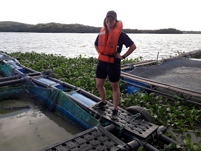 Kelsey standing on floating Tilapia cages on Lake Victoria, Kenya.