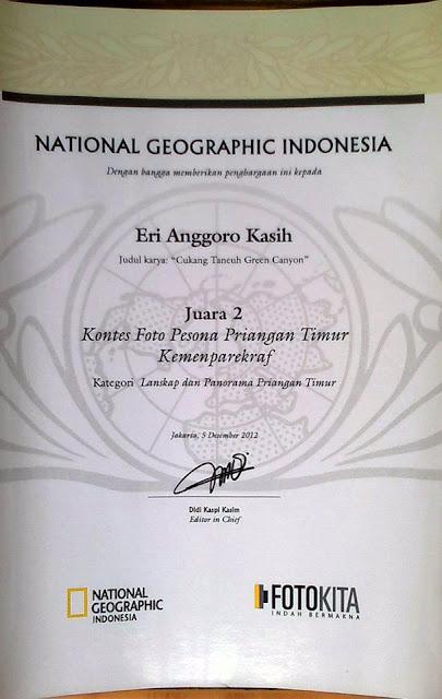 Piagam Juara 2 Kontes  Foto Pesona Priangan Timur, National Geographic Indonesia