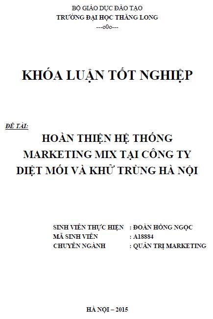 Hoàn thiện hệ thống Marketing mix tại Công ty Diệt mối và Khử trùng Hà Nội