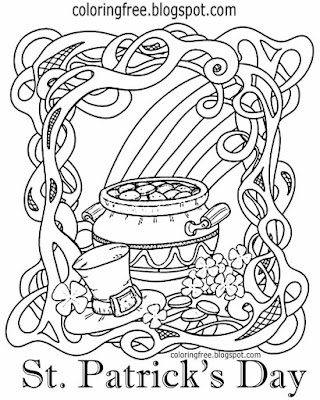 Saint Patrick's Day printables Celtic background Ireland colouring pictures for kid's Irish clipart