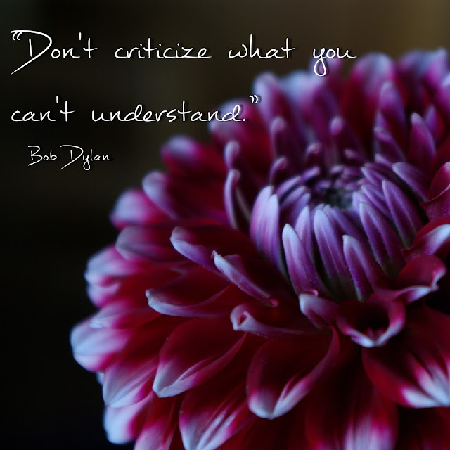 Don´t criticize what you can´t understand. - Bob Dylan