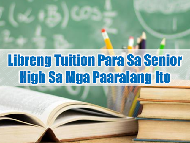 Here is the list of schools offering free tuition fees to qualified incoming Senior High students. There might be just one very near to you or located within the proximity of your neighborhood.  Hurry, the chance to apply for the scholarship will close soon.  Advertisement        Sponsored Links    Here are schools, government, and private institutions which offers full scholarships to qualified incoming Senior High school students:   Public School (No Offered Scholarships) Antonio G Busano, Sr High School  CATEGORY Government  GRANT Full Tuition  APPLICATION DEADLINE June 01, 2018  Public School (No Offered Scholarships) Bula National School of Fisheries  CATEGORY Government  GRANT Full Tuition  APPLICATION DEADLINE June 01, 2018  Public School (No Offered Scholarships) Dadiangas North High School  CATEGORY Government  GRANT Full Tuition  APPLICATION DEADLINE  June 01, 2018  DepEd Voucher Program Brokenshire College  CATEGORY Government  GRANT Full Tuition  APPLICATION DEADLINE  May 30, 2018  Public School (No Offered Scholarships) Buayan National High School  CATEGORY Government  GRANT Full Tuition  APPLICATION DEADLINE June 01, 2018  Public School (No Offered Scholarships) Banisil National High School  CATEGORY Government  GRANT Full Tuition  APPLICATION DEADLINE  June 01, 2018   Entrance Scholarship De La Salle - Health Sciences Institute  CATEGORY Private/Corporate  GRANT Full Tuition  APPLICATION DEADLINE  July 01, 2018   Public School (No Offered Scholarships) Bawing National High School  CATEGORY Government  GRANT Full Tuition  APPLICATION DEADLINE  June 01, 2018  Punlaan Full Scholarship with Employment after Graduation Punlaan School  CATEGORY Background-based  GRANT Full Tuition  APPLICATION DEADLINE  May 30, 2018   SHS - Entrance Scholarship for G11 FEU Cavite (Far Eastern College - Silang)  CATEGORY Merit-based  GRANT Full Tuition  APPLICATION DEADLINE  June 13, 2018  Senior High School Scholarship Program La Consolacion College Manila (LCC)  CATEGORY Government  GRANT Full Tuition  APPLICATION DEADLINE  May 31, 2018  SHS No Top Up Program Colegio de San Juan de Letran - Manila (CSJL)  CATEGORY Financial Assistance  GRANT Full Tuition  APPLICATION DEADLINE  May 31, 2018  DISCOUNTS ON TUITION FEES Christian Colleges of Southeast Asia  CATEGORY Government  GRANT Full Tuition  APPLICATION DEADLINE  June 01, 2018  Senior High School Scholarship Our Lady of Fatima University - Valenzuela  CATEGORY Private/Corporate  GRANT Full Tuition  APPLICATION DEADLINE  June 12, 2018  To apply, go to www.edukasyon.ph and sign-up. Education helps us to determine how our future would fare but it may be tough for people who live in poverty. Studying may not be a burden but the tuition fee and other expenses are.  It is always good to know that there are scholarship programs that are readily available to those who want to pursue college but find it difficult for them to do it due to financial problems. Now their future looks even brighter by being able to avail college education for free.  Advertisement         Sponsored Links   Here are schools, government, and private institutions which offers full scholarships to qualified students:    Phinma National Scholarship  The PHINMA Foundation    CATEGORY  Private/Corporate    GRANT  Full Tuition    APPLICATION DEADLINE :   May 31, 2018     OLFU Academic Scholarships  Our Lady of Fatima-Nueva Ecija   CATEGORY Academic Excellence  GRANT Full Tuition  APPLICATION DEADLINE  June 05, 2018   Phinma National Scholarship  The PHINMA Foundation  CATEGORY Private/Corporate  GRANT Full Tuition  APPLICATION DEADLINE May 31, 2018   OLFU Academic Scholarships  Our Lady of Fatima-Nueva Ecija  CATEGORY Academic Excellence  GRANT Full Tuition  APPLICATION DEADLINE June 05, 2018  OLFU FINANCIAL ASSISTANCE  Our Lady of Fatima-Nueva Ecija  CATEGORY Financial Assistance  GRANT Full Tuition  APPLICATION DEADLINE June 05, 2018   OLFU Academic Scholarships  Our Lady of Fatima University-San Fernando City  CATEGORY Academic Excellence  GRANT Full Tuition  APPLICATION DEADLINE June 08, 2018  OLFU FINANCIAL ASSISTANCE  Our Lady of Fatima University-San Fernando City  CATEGORY Financial Assistance  GRANT Full Tuition  APPLICATION DEADLINE June 18, 2018  No Tuition  Agro-Industrial Foundation College of the Philippines - Matina  CATEGORY Government  GRANT Full Tuition  APPLICATION DEADLINE June 01, 2018   Entrance Scholarship  Pamantasan ng Lungsod ng Marikina   CATEGORY Merit-based  GRANT Full Tuition  APPLICATION DEADLINE May 31, 2018   ACADEMIC SCHOLARSHIPS  NBS College  CATEGORY Merit-based  GRANT Full Tuition  APPLICATION DEADLINE August 01, 2018   College - Entrance Scholarship for Freshmen FEU Cavite (Far Eastern College - Silang)  CATEGORY Merit-based  GRANT Full Tuition  APPLICATION DEADLINE  June 13, 2018  Other Discounts (Higher Education Department) HED Academic Scholarships FEU Cavite (Far Eastern College - Silang)  CATEGORY Merit-based  GRANT Full Tuition  APPLICATION DEADLINE  June 13, 2018   FEU Cavite Higher Education Department SCHOLARSHIPS AND DISCOUNTS FEU Cavite (Far Eastern College - Silang)  CATEGORY Academic Excellence  GRANT Full Tuition  APPLICATION DEADLINE  June 13, 2018   Entrance Scholar  La Consolacion College Manila (LCC)  CATEGORY Academic Excellence    GRANT Full Tuition     APPLICATION DEADLINE June 30, 2018     Full Academic Scholar  La Consolacion College Manila (LCC)  CATEGORY Academic Excellence  GRANT Full Tuition  APPLICATION DEADLINE June 30, 2018    SCHOLARSHIPS TRACE College  CATEGORY Financial Assistance  GRANT Full Tuition  APPLICATION DEADLINE  August 01, 2018  Blessed Antonio Varona Ortega Athletics Scholarship  Colegio de San Juan de Letran - Manila (CSJL)  CATEGORY Athletic  GRANT Full Tuition  APPLICATION DEADLINE  May 31, 2018   Fra Angelico Cultural Scholarship  Colegio de San Juan de Letran - Manila (CSJL)  CATEGORY Arts  GRANT Full Tuition  APPLICATION DEADLINE  May 31, 2018       Academic Scholarship  Interface Computer College  CATEGORY Private/Corporate   GRANT Full Tuition     APPLICATION DEADLINE June 30, 2018   Iskolar ni Juan  Gokongwei Brothers Foundation  CATEGORY Private/Corporate  GRANT Full Tuition  APPLICATION DEADLINE  August 31, 2018   STEP UP  STEP UP   CATEGORY Private/Corporate  GRANT Full Tuition  APPLICATION DEADLINE  May 30, 2018   Phinma National Scholarship  The PHINMA Foundation  CATEGORY Private/Corporate  GRANT Full Tuition  APPLICATION DEADLINE  May 31, 2018  FOR INCOMING FIRST YEAR (Senior High School Graduates only)  University of Southern Philippines Foundation  CATEGORY Academic Excellence  GRANT Full Tuition  APPLICATION DEADLINE  June 01, 2018  Student Assistantship Program (SAP)  First Asia Institute of Technology and Humanities (FAITH)  CATEGORY Student Assistantship  GRANT Full Tuition  APPLICATION DEADLINE  August 01, 2018   Honor Students Scholarship Program Our Lady of Fatima University - Valenzuela  CATEGORY  Academic Excellence  GRANT Full Tuition  APPLICATION DEADLINE  June 12, 2018    Sibling Discount Our Lady of Fatima University - Valenzuela  CATEGORY Sibling Discount  GRANT Full Tuition  APPLICATION DEADLINE  June 12, 2018  To apply, go to www.edukasyon.ph and sign-up.   You will then have access to scholarships which is currently available. You can even find the school or institution nearest to you.           READ MORE: In Demand College Courses Which Only A Few Take Up    OFWs Must Save, Get Insurance And Have An Investment    OFW Help Desks From TESDA Now Available at International Airports    Signs That You And Your Partner Have An Unhealthy Communication    It's More Deadly In The Philippines? Tourism Ad In New York, Vandalized    Earn While Helping Your Friends Get Their Loan    List of Philippine Embassies And Consulates Around The World    Deployment Ban In Kuwait To Be Lifted Only If OFWs Are 100% Protected —Cayetano    Why OFWs From Kuwait Afraid Of Coming Home?   How to Avail Auto, Salary And Home Loan From Union Bank    ©2018 THOUGHTSKOTO  www.jbsolis.com  You will then have access to scholarships which is currently available. You can even find the school or institution nearest to you.