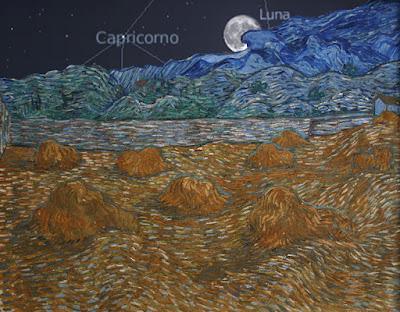 La Luna che sorge e il cielo del 13 luglio 1889 alle ore 21;08