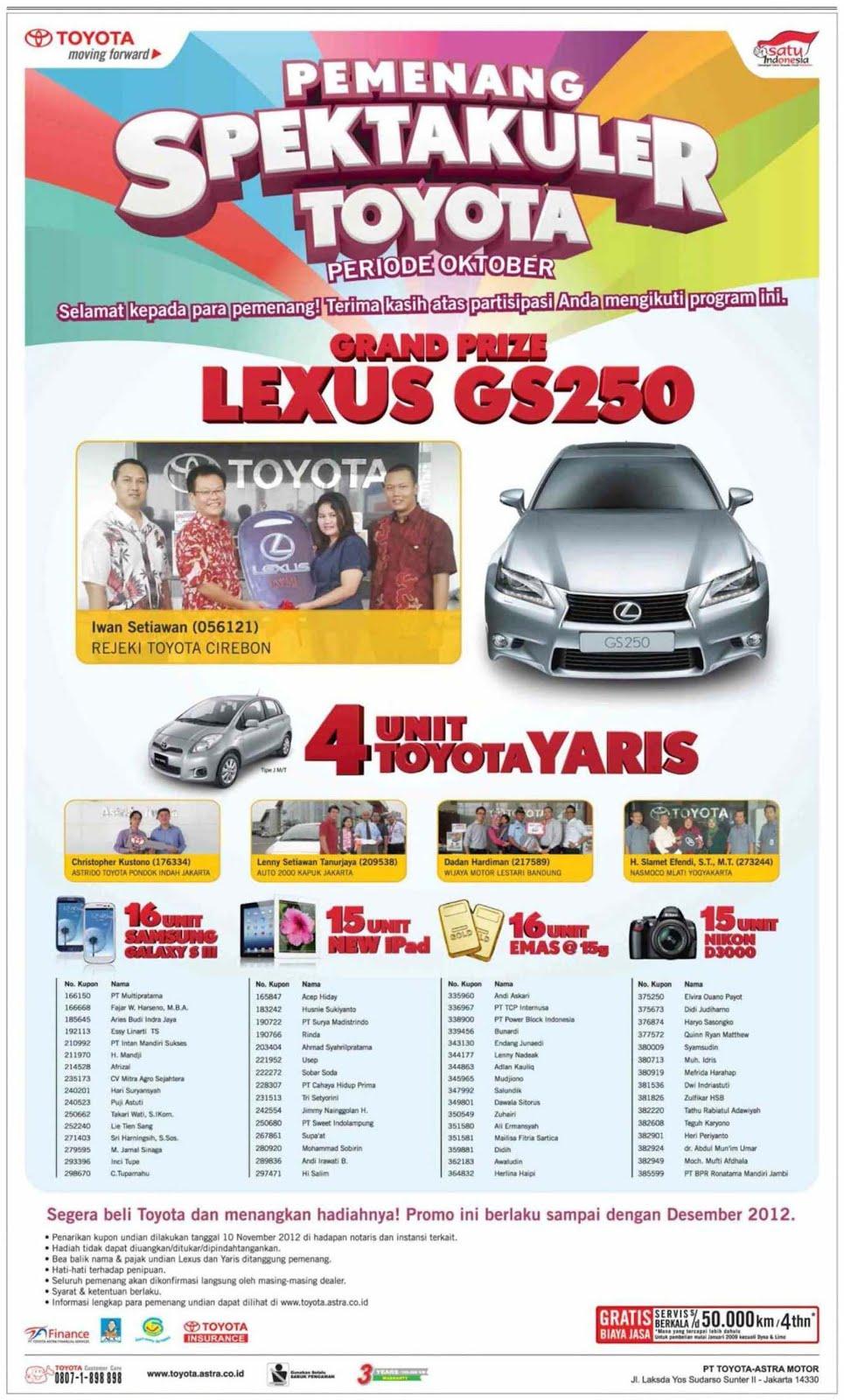 Gambar Mobil Grand New Veloz Harga All Vellfire Daftar Nama Pemenang Spektakuler Toyota Ii Periode 2 ...