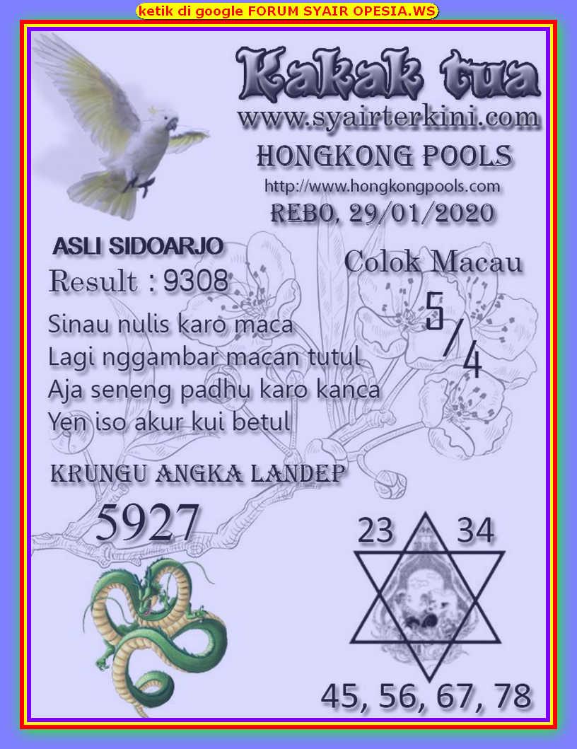 Kode syair Hongkong Rabu 29 Januari 2020 109