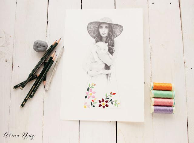Ilustración y bordado sobre papel