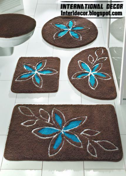 Brown And Blue Patterned Bathroom Rugs: Brown Bathroom Rugs