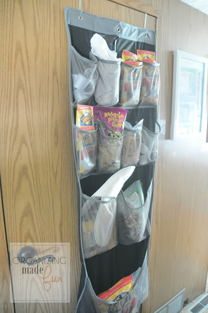 Shoe pocket organizer over the door to hold snacks on the RV :: OrganizingMadeFun.com