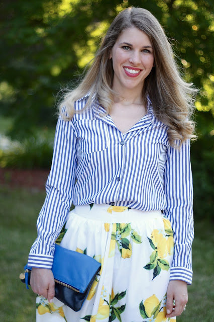striped button up, lemon print skirt, nude strappy heels, blue Clare V. clutch
