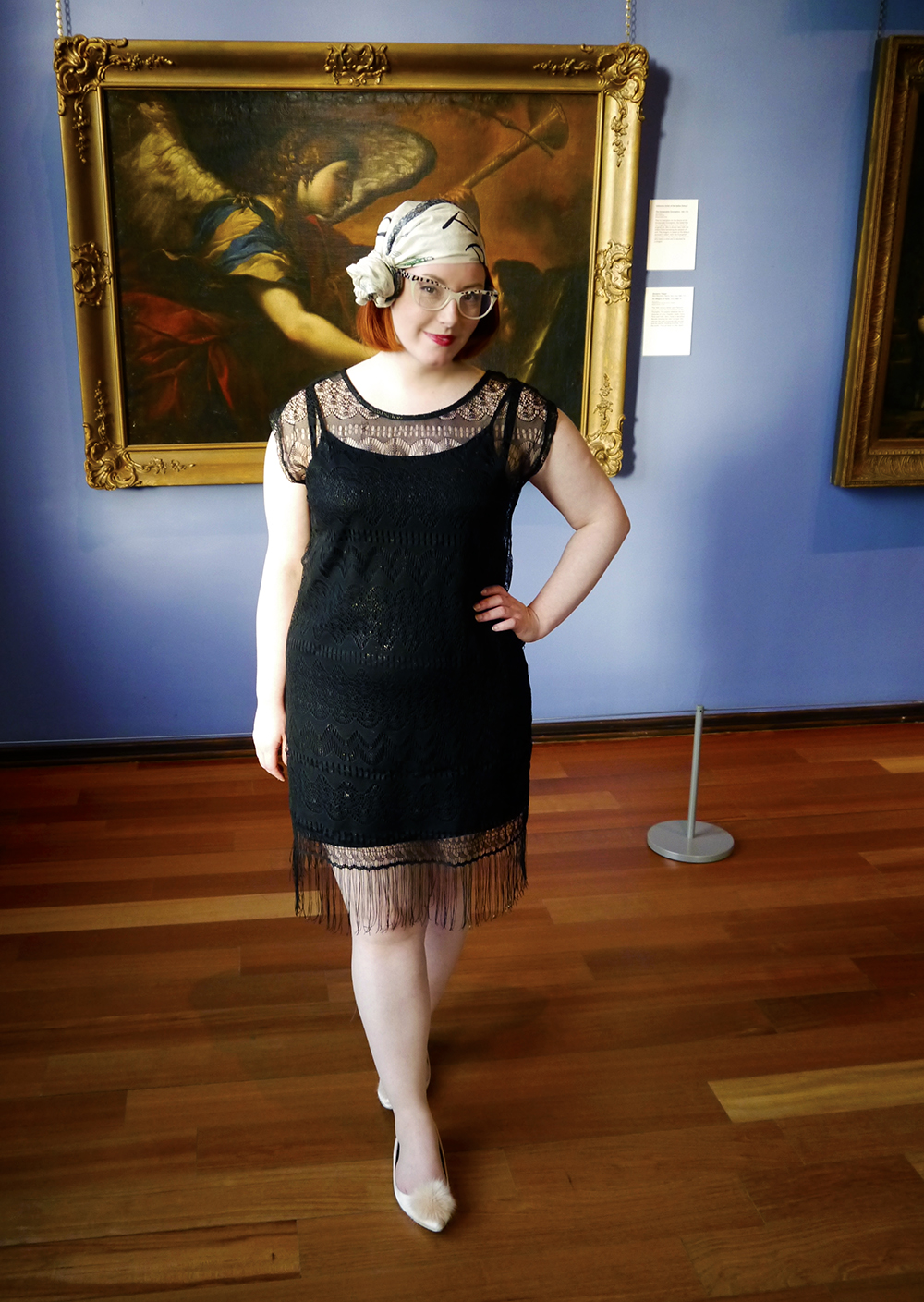 Styled by Helen, Scottish Bloggers, Dundee blogger, 1920s fashion, 1920's style, vintage style, headscarf style, scarf style, vintage scarf, George at Asda, ASOS pom pom shoes, pom pom flats, 1920s headscarf style, fringed dress, The McManus, Dundee