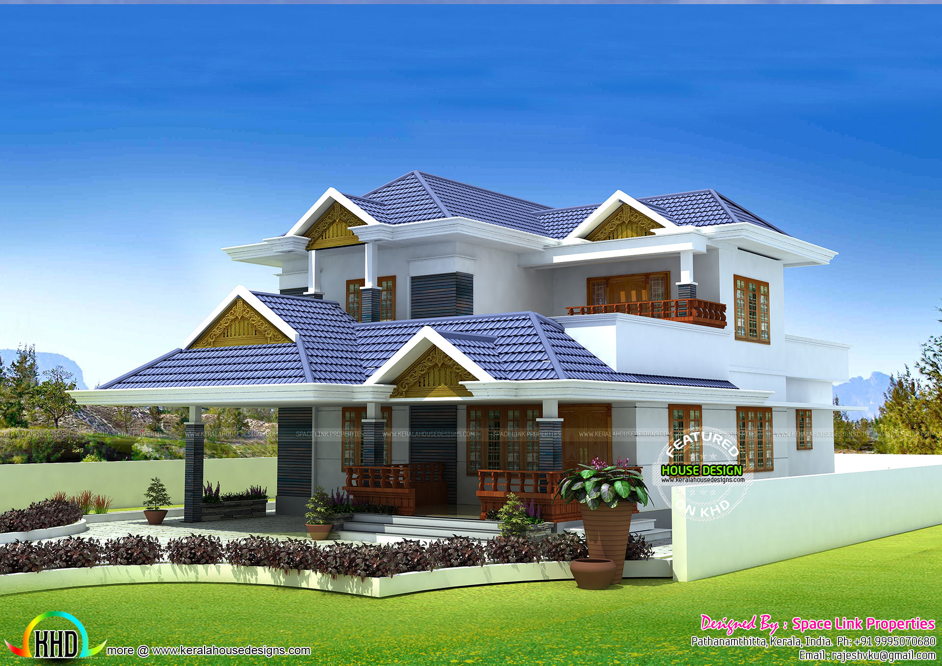 Typical kerala home design with 3 bedrooms kerala home for Three bedroom house plans kerala style