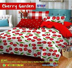 Sprei Custom Katun Lokal Dewasa Cherry Garden Floral Fruit Pattern Merah