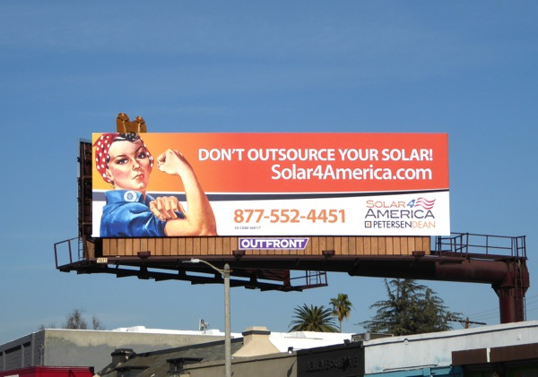 Rosie the Riveter Solar panels billboard