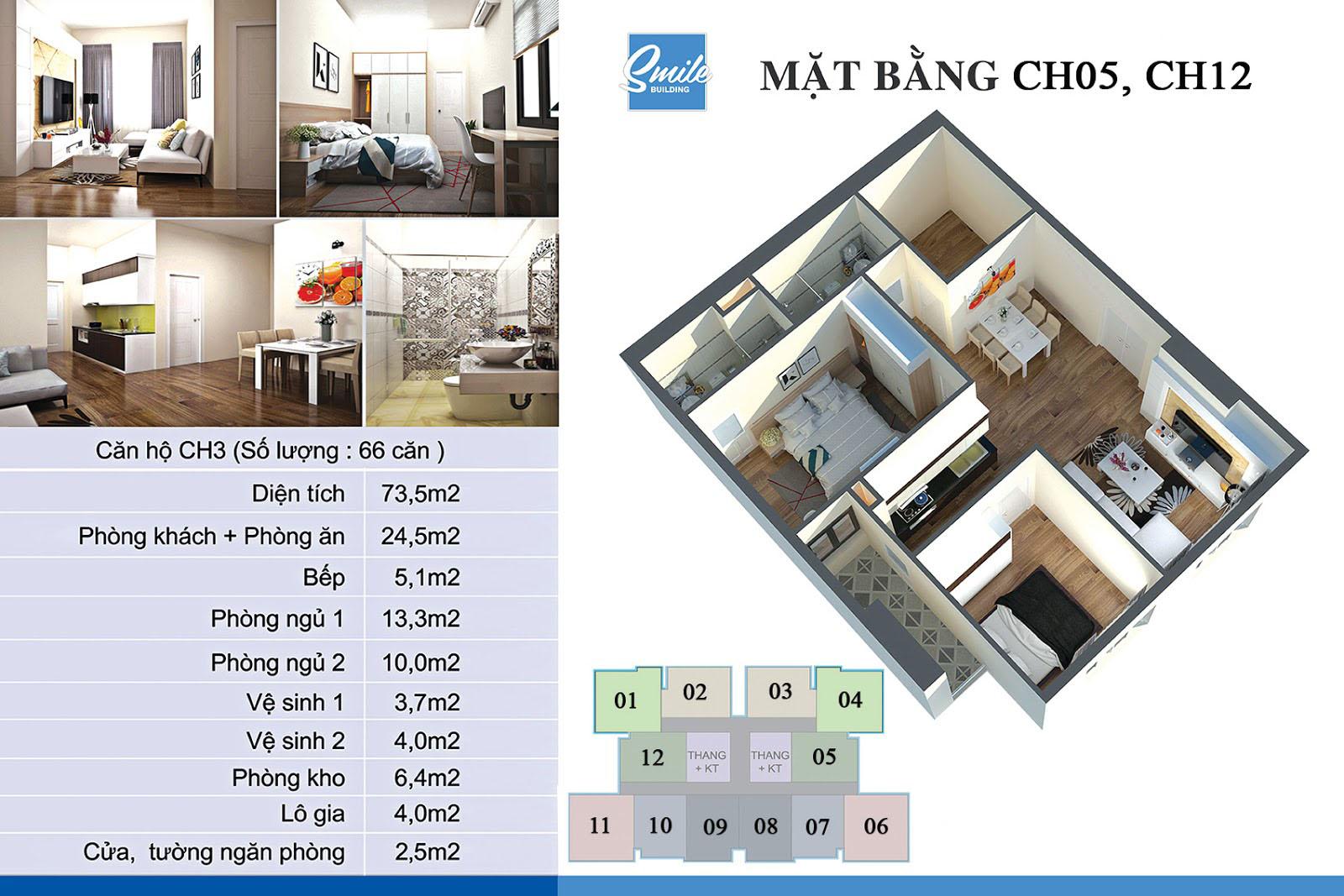 Mặt bằng căn hộ CH5 dự án Trung Yên