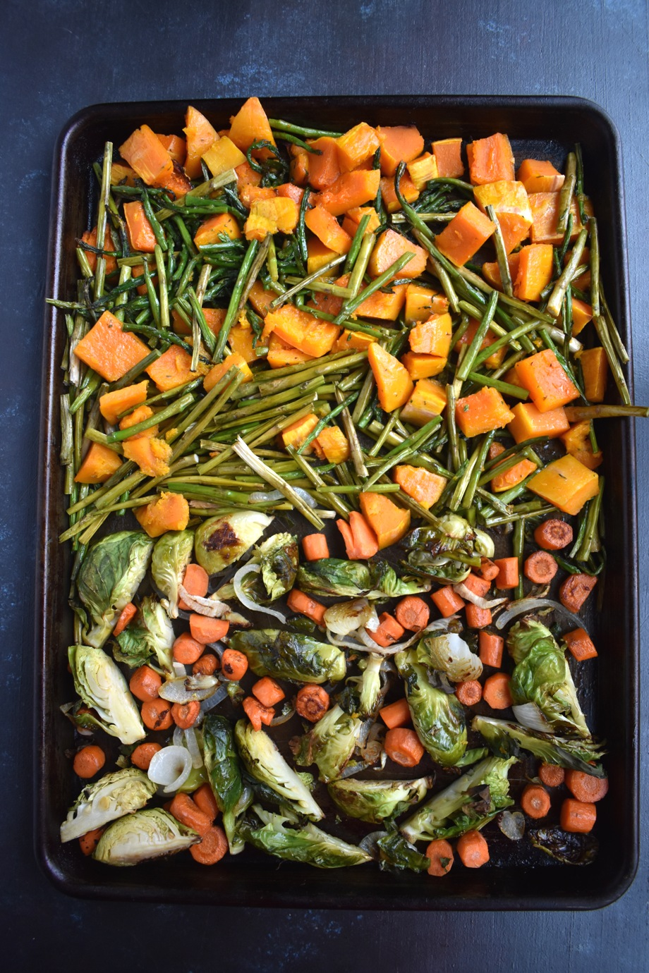 Tray of roasted vegetables