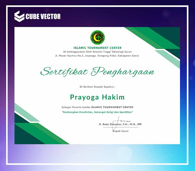 Download Sertifikat Peserta Kegiatan Seminar Format PSD