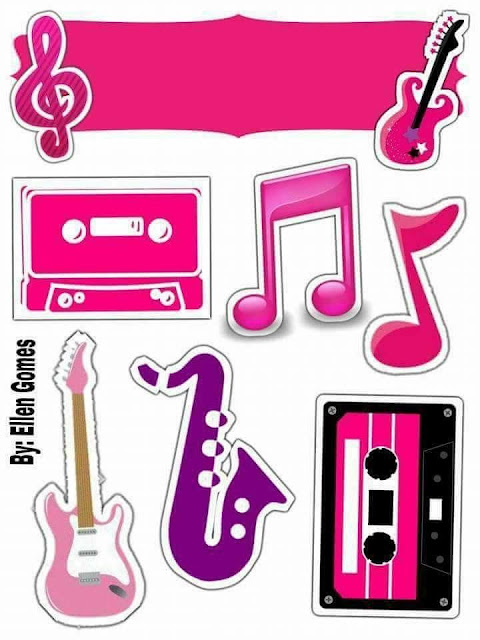 Retro or 80´s Party Free Printable Cake Toppers.