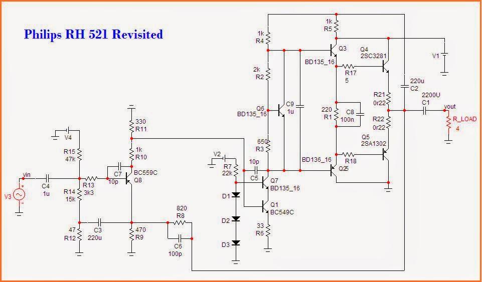 ESPRITAUDIO: Philips Amplifier RH 521 Revisited Class AB