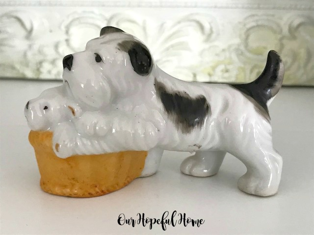 occupied Japan era porcelain terrier puppy basket figurine