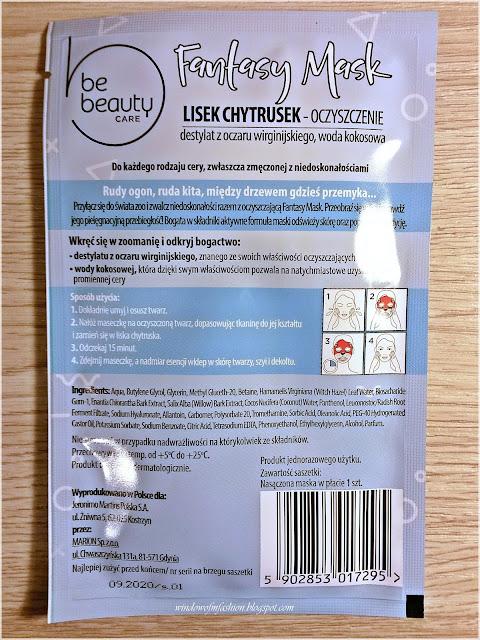 BeBeauty Care, Fantasy Mask, Maska na tkaninie oczyszczenie, Lisek Chytrusek