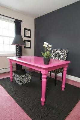oficina color rosa gris