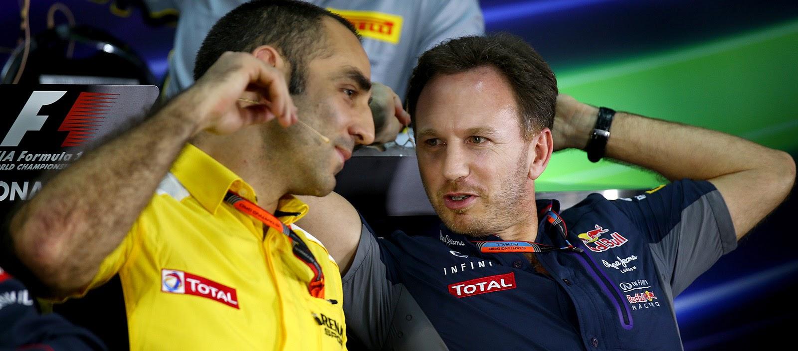 Cyril Abiteboul (Renault) y Christian Horner (Red Bull) durante la rueda de prensa FIA del viernes en el GP de Malasia