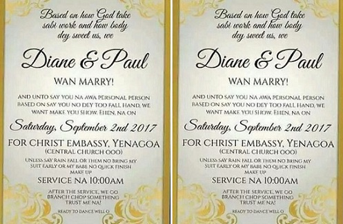 This is so hilarious you need to see this pidgin wedding invitation i can stop laughing stopboris Gallery